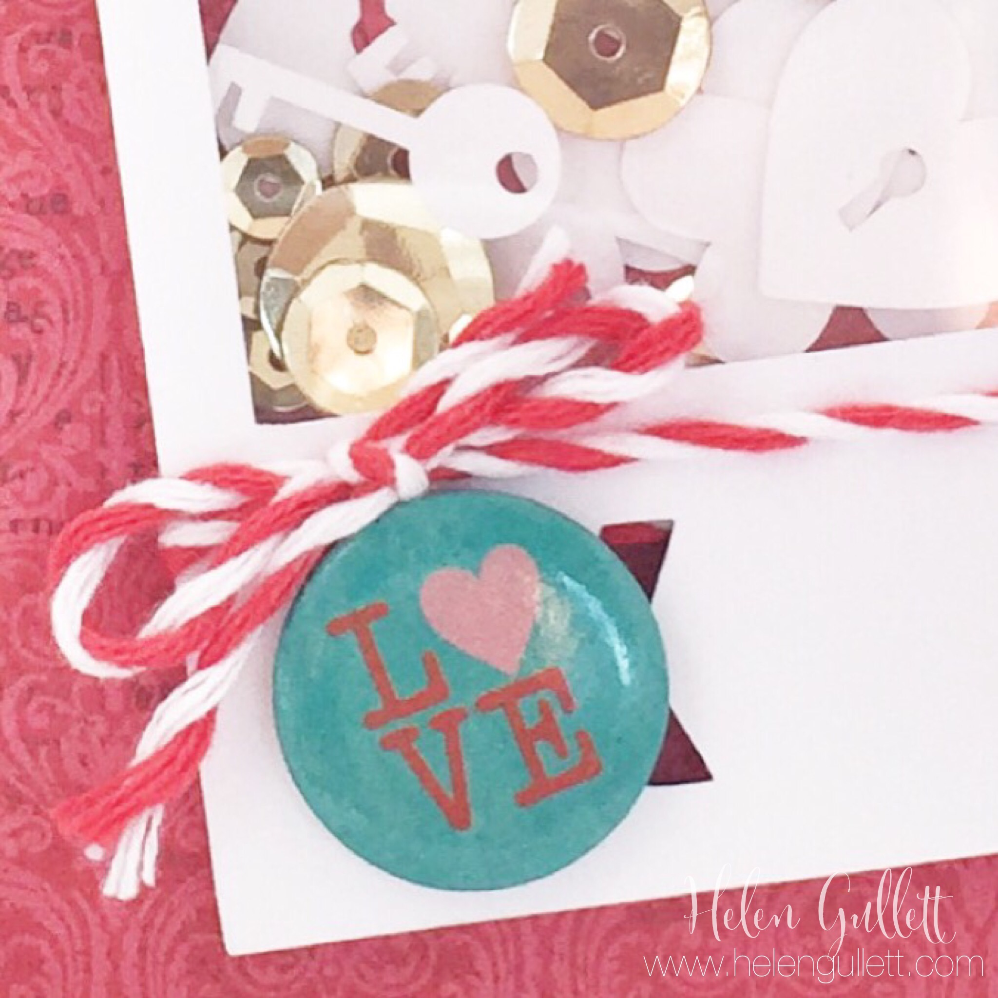 Key To My Heart Shaker Card by Helen Gullett | www.helengullett.com #livingmygivenlife #creatingjoyfully #ctmh #jrlcreativechallenge #silhouetteamerica #silhouettecameo #thecutshoppe #loriwhitlock #sophiegallo #shakercard #stepcard #handmadecard #valentinecard #bakertwine #flairbutton #sequin #confetti