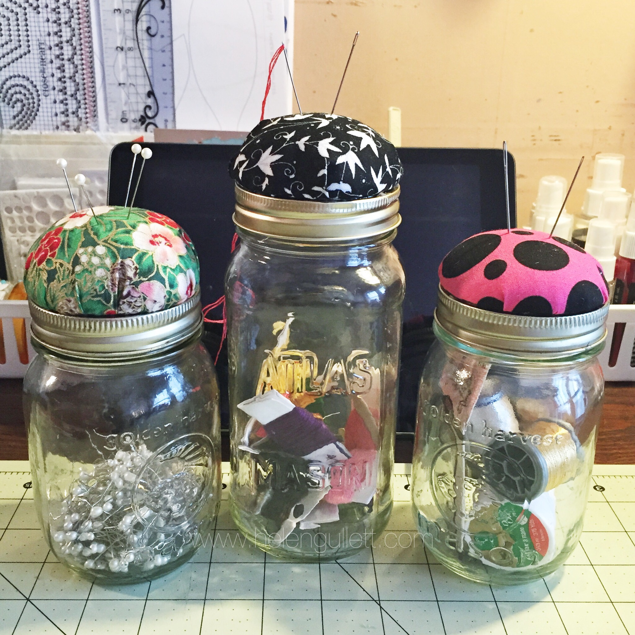Pin/Needle Cushion Mason Jars by Helen Gullett http://helengullet.com