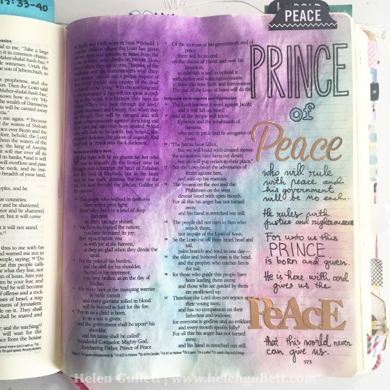 Gratitute Documented Bible Journaling Day 5: Peace. Isaiah 9:1-7 #gratitudedocumented #illustratedfaith #biblejournaling #peace #PrinceofPeace #neatandtangled #pittsartistpens #gelatos #FaberCastell #creatingjoyfully #LampAndLight