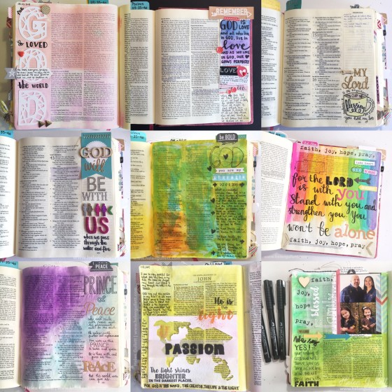 2015 Best of Nine Bible Journaling #2015BestNine #biblejournaling #journalingbible #writetheword #illustratedfaith #thecutshoppe #latinacrafterstamp #beablessing #neatandtangled #silhoettecameo #wrmk #evolutionadvanced #fabercastell #gelatos #pittartistpens #stampersbigbrushpens #primamarketinginc #chalkfluidedger #timholtz #ranger #distressink #ellesstudio #ctmh #ektool #americancrafts #freckledfawn