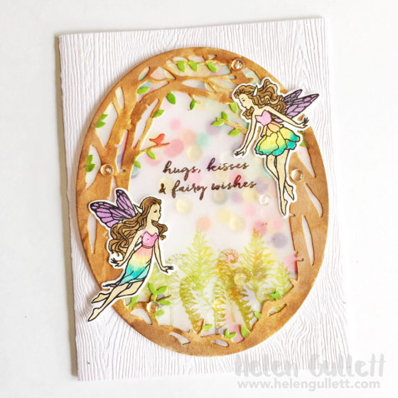 My Monthy Hero August Kit - Shaker Watercolored Card by Helen Gullett