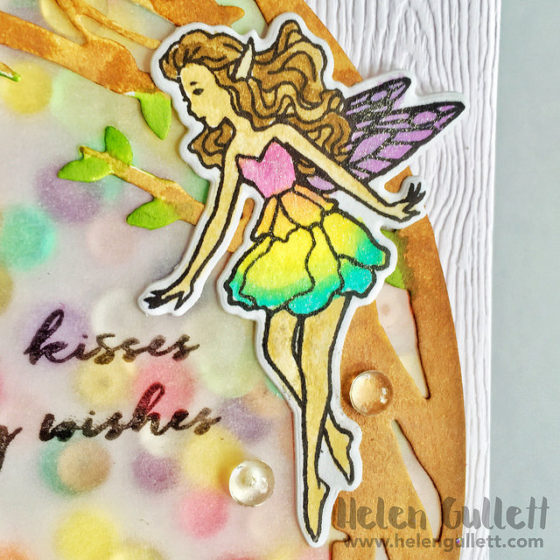 My Monty Hero August Kit - shaker watercolored card by Helen Gullett