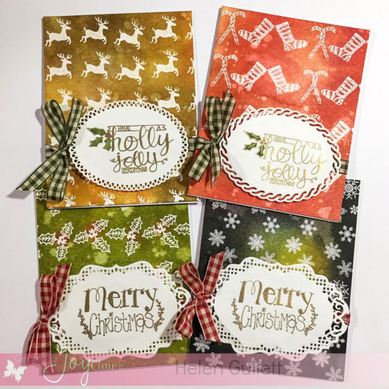 Shiny Pearly Christmas Cards with Joy Clair Stamps