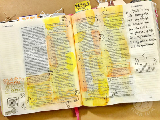 A Bible Journaling Page And A Mixed Media Card With Joy Clair