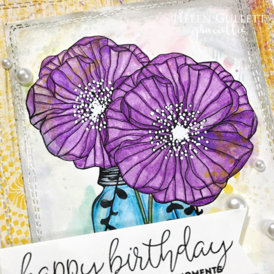 Mixed Media Birthday Card with Graciellie Design Digital Stamp