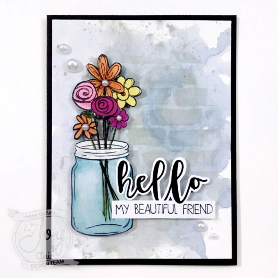Hello My Beautiful Friend - Mixed Media Card With Joy Clair Stamp